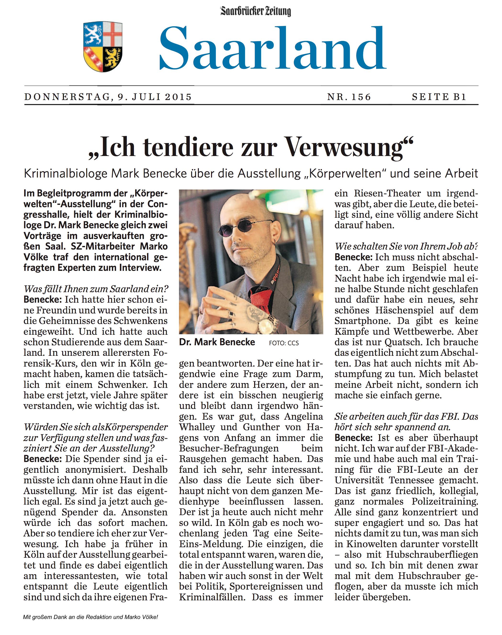 """2015 07 09 Saarbrücker Zeitung Körperwelten – """"Ich Ten Re Zur"""