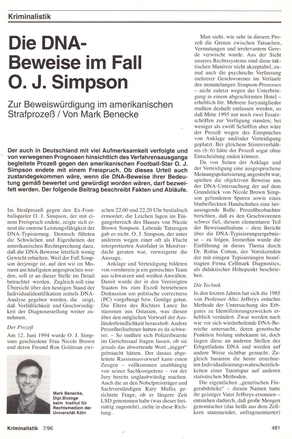 1996 Kriminalistik Die DNA Beweise Im Fall Simpson Mark Benecke